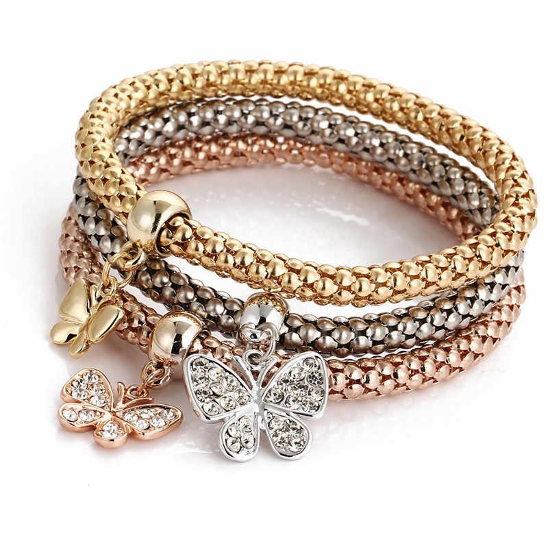 3 шт. браслет с бабочками из кристаллов женский кулон аксессуары женские браслеты и браслеты серебро золото розовое золото женские браслеты fe