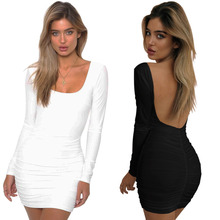 Try Everything 2019 New Fashion Summer Dress Women Black Short Mini Bodycon Long Sleeve Backless Sexy For