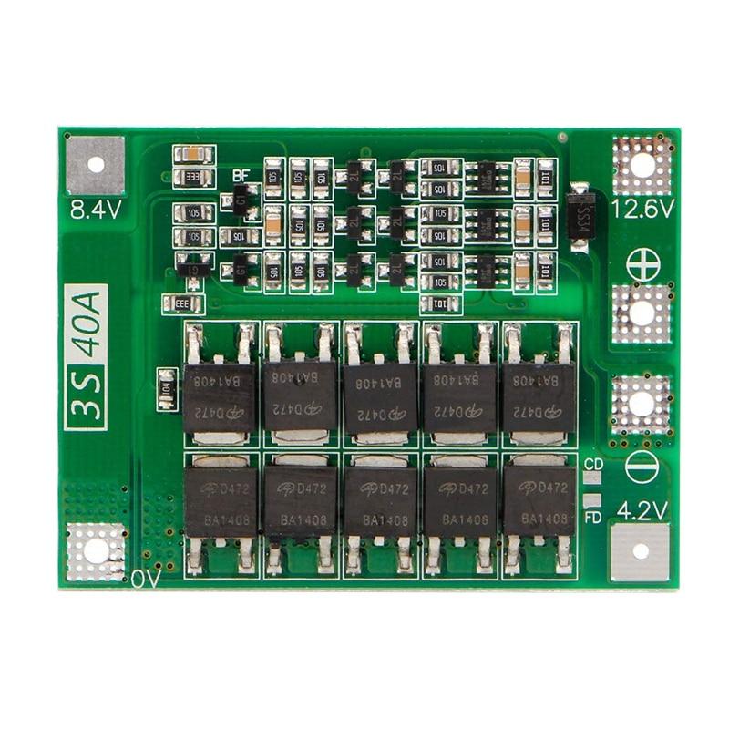 3S 40A 18650 ליתיום סוללת ליתיום מטען הגנת לוח Pcb Bms עבור תרגיל מנוע 11.1V 12.6V Lipo סלולרי מודול