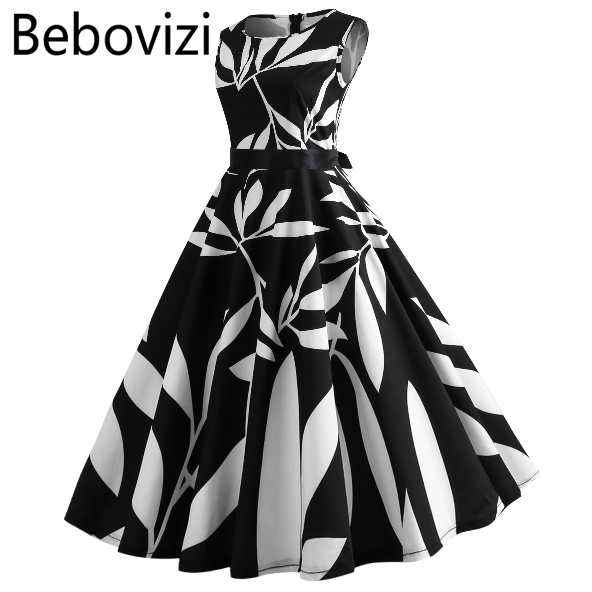 US $9.9 30% OFF|Fashion Black White Plus Size Vintage Dress Robe Femme  Casual Elegant Summer Clothes O neck Party Beach Midi Dresses for Women-in  ...