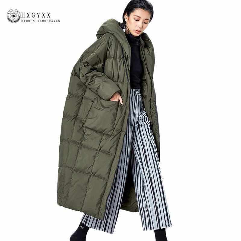 31fac761bf6 Качественные зимние пуховые пальто женские 2019 новые модные негабаритные  пуховики с капюшоном Длинные свободные гусиные перья