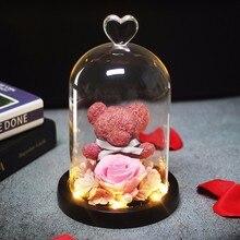 Список розовая мини-медведь розы светильник бутылки в банке стол ночной Светильник Красота и с рисунком из мультфильма «Красавица и Чудовище» романтический подарок на год