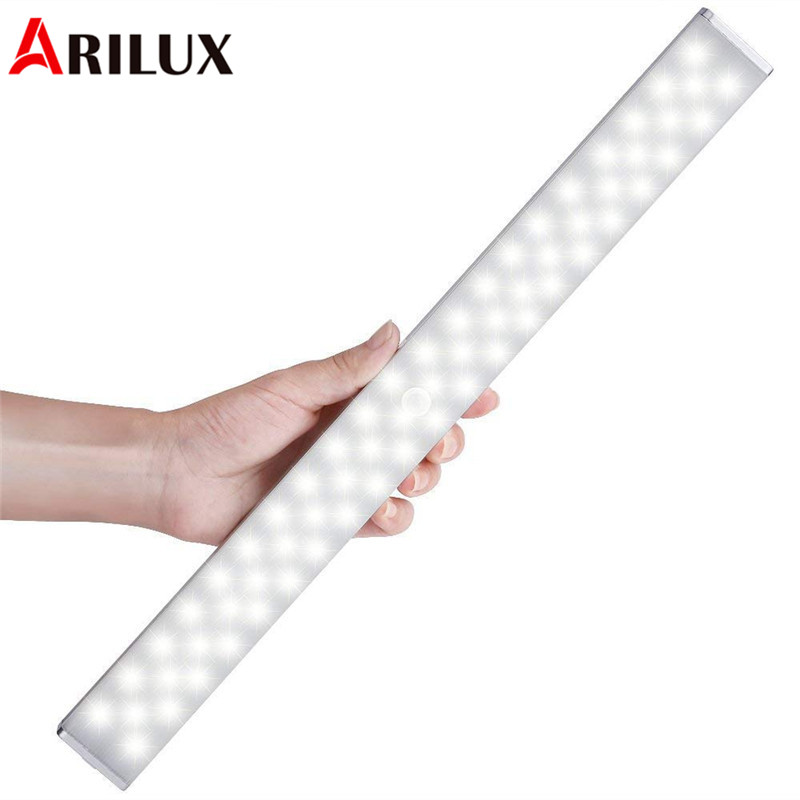 ARILUX Wireless 68 LED Bar Light Light-controlled & PIR Motion Sensor USB Rechargeable Cabinet Night Light