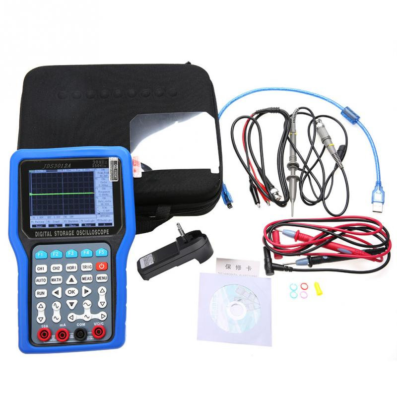Hot JDS3012A Handheld 250MSa S 30MHz 2CH Digital Oscilloscope 6000 Counts Multimeter AC100 240V functional new