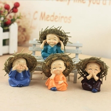 Hot sale small straw hat four no monk cartoon car decoration car decoration resin doll crafts boutique decoration ornaments