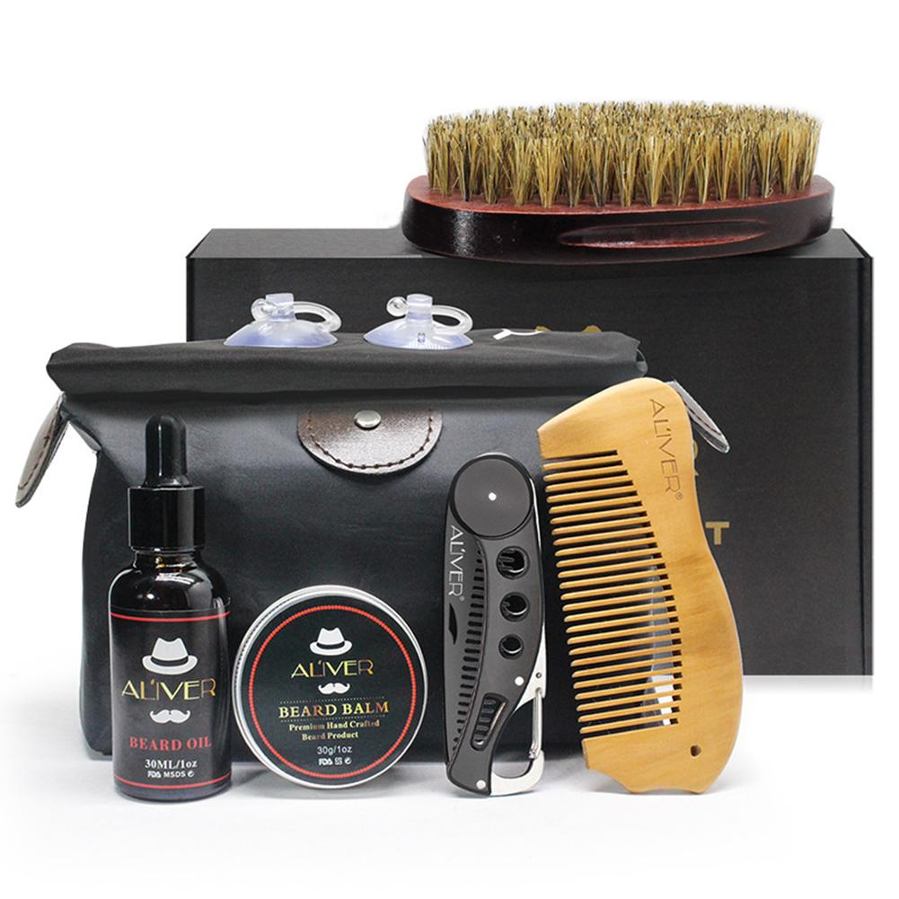 8pcs Men Beard Oil Kit With Brush Comb Beard Cream Scissors Grooming & Trimming Kit Male Beard Care Set With Bag Gift Box