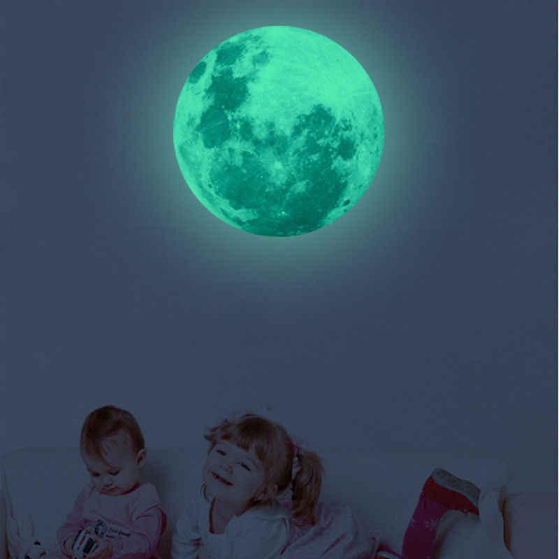 30 см 3D Луна светится в темноте светящийся флуоресцентный Домашний номер Наклейка на стену