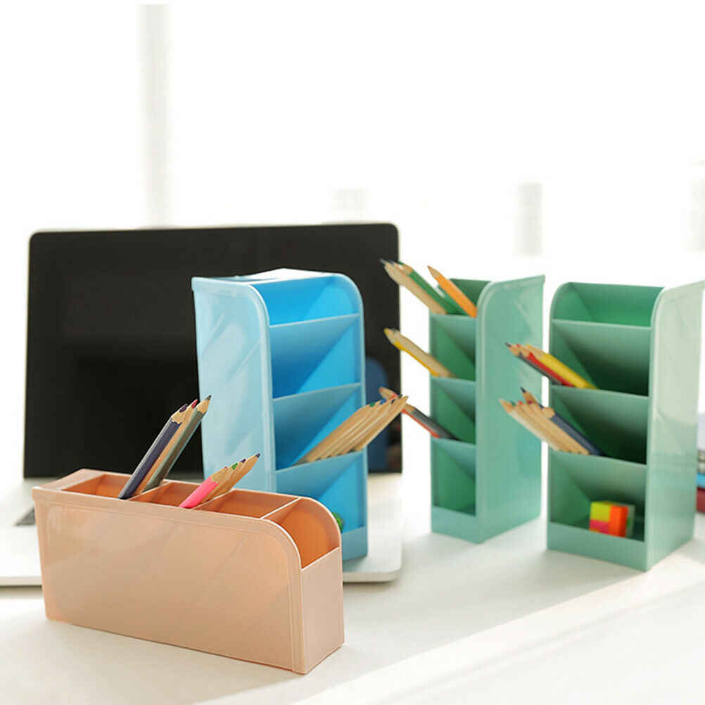 2019 Newest Hot Plastic Desk Organizer Desktop Office Pen Pencil Holder Makeup Storage Tray FL