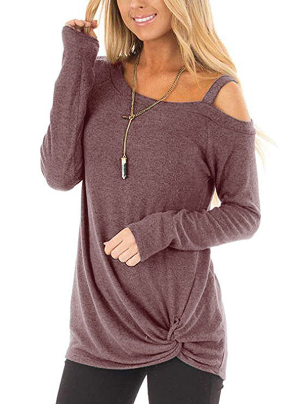 Kenancy Ladies Knotted Skew Neck Shirts Style Lower Out Lengthy Sleeve Pullovers Informal Stable Feminine Tops Blouses Ladies's Clothes