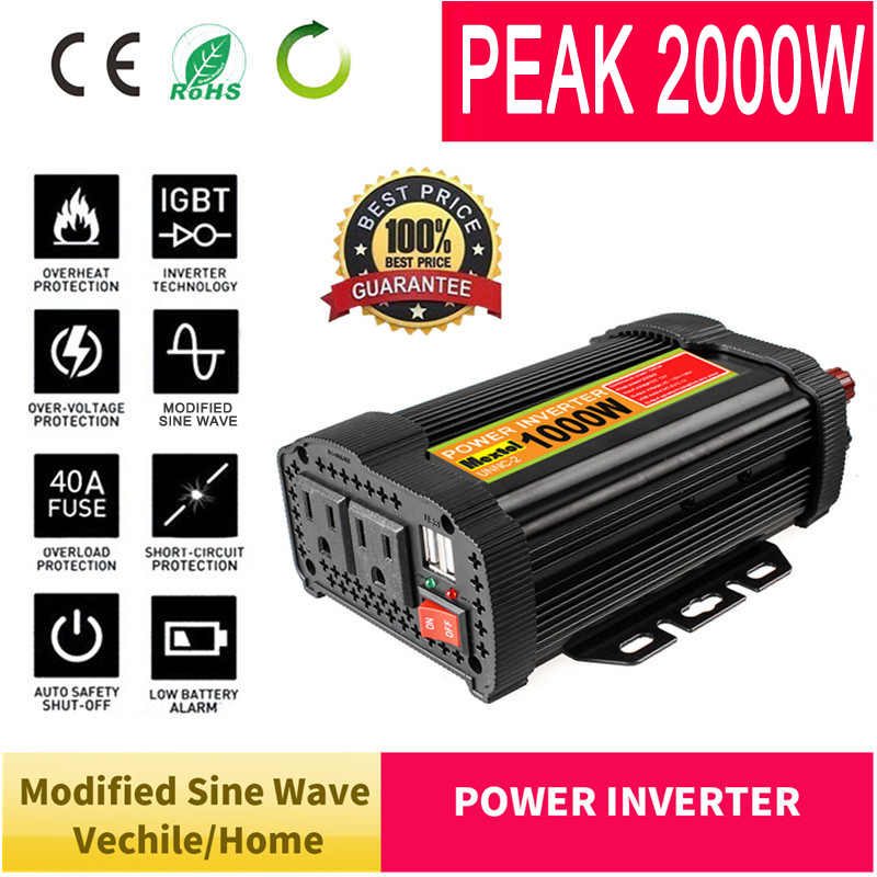 Max 2000W Solar Power Inverter 12V DC to 110V AC LCD Digital Modified Sine Wave Car Charge Converter Transformer