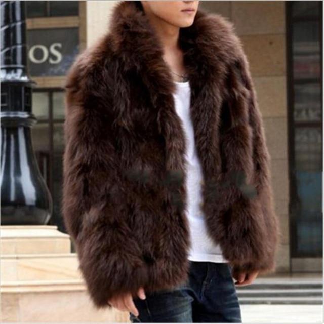 Winter Faux Fur coat 2019 New Cool Men warm Coat Fashion Brown&black high-end Fox fur coat imitation Fur men plus size S/XXXL