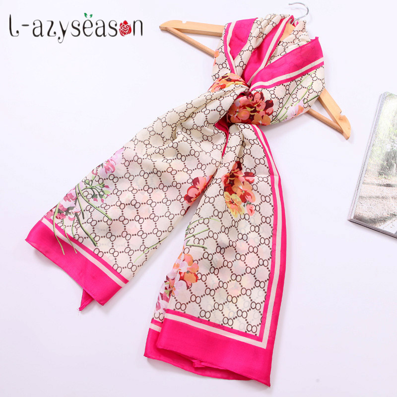 2019 New Brand bandana winter Silk   Scarf   Women Luxury Fashion stole spring hijab shawl   Scarves     wraps   Long size 90X180 CM
