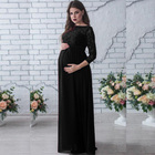 Women Maternity Dress Lace Long Sleeve Pregnant Photo Shoot Party Dress Gown Photography Maxi Long Dress Black/White/Burgundy