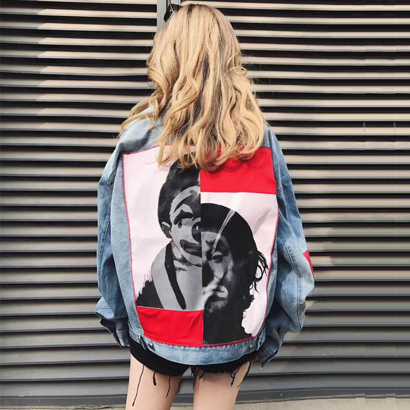 LYFZOUS Clown Patchwork Denim Bomber Jackets Bf Style Female Harajuku Casual Jeans Jacket Women Basic Jackets Oversize