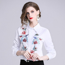 Foreign trade women's 2019 spring new slim slimming heavy embroidery embroidered collar cotton shirt free shipping asean free trade area afta