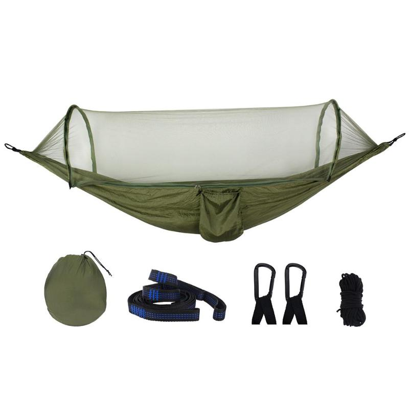 1-2 Person Portable Outdoor Camping Hammock With Mosquito Net High Strength Parachute Fabric Hanging Bed Hunting Sleeping Tool