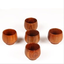Chinese Style Natural Wooden Red Green Milk Tea Hot Cold Water Drinks Cup Household Hotel and Restaurant Special Liquor