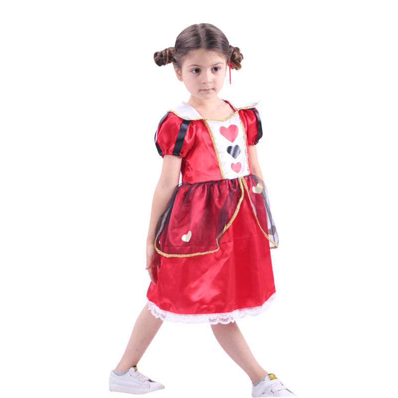 Girls Red Queen Cosplay Alice In Wonderland Red Heart Queen Dress For Kids Halloween Costume For Children Party Clothes