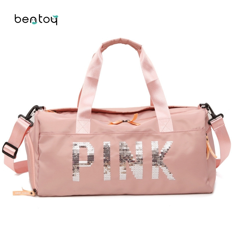 Short Distance Travel Bag Nylon Pink Women Girls Shoulder Bag Large Capacity Luggage Sports Training Package Separation Gym Bag