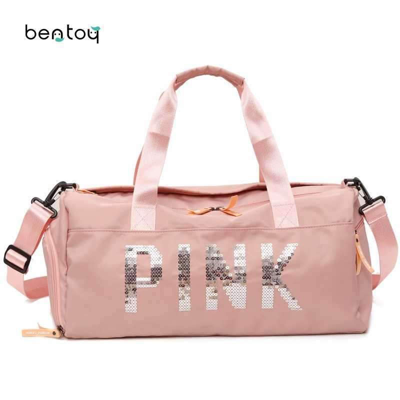 6cd1a3a54a5c Short Distance Travel Bag Nylon Pink Women Girls Shoulder Bag Large  Capacity Luggage Sports Training Package