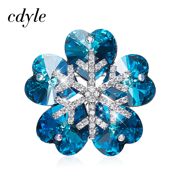 Cdyle Embellished with crystals from Swarovski Brooch For Women Fashion Jewelry Elegant Chic Blue Purple Snowflake Christmas