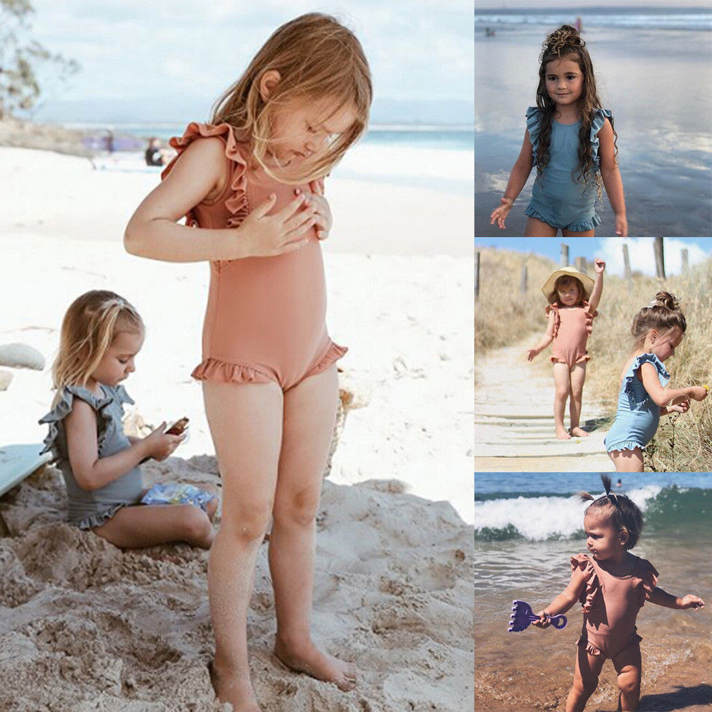 Bathing-Suit Ruffled Holiday Baby-Girls Toddler One-Piece Summer Hot Kids