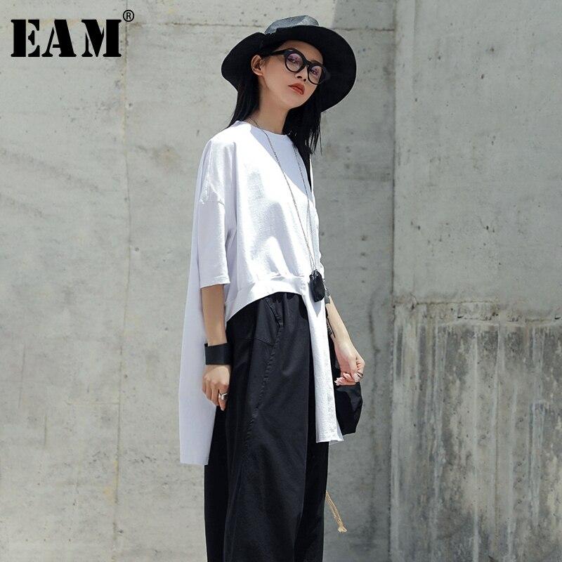 [EAM] 2020 New Spring Summer Round Neck Short Sleeve White Oversize Irregular Hem Big Size T-shirt Women Fashion Tide JU433