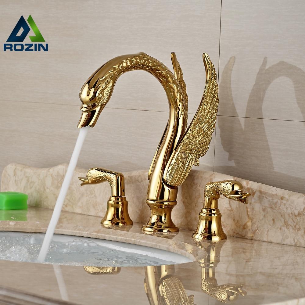 Soild Copper Gold Finish Bathroom Faucet Luxury Golden Swan Shape Basin Tap Dual Handle Deck Mount