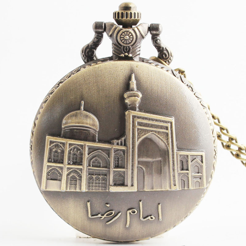 Pocket & Fob Watches  Bronze Building Carved Openable Steampunk  Pocket Fob Watch for Men/Women Necklace Pendant Clock Gifts