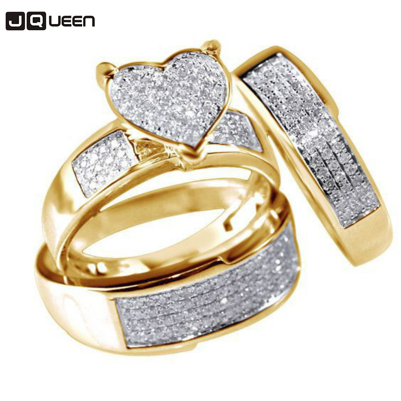 Jewelry Gold Color Three Pieces Stainless Steel Zircon Crystal Love Heart Wedding Rings For Women Anillos Mujer Anel Gift