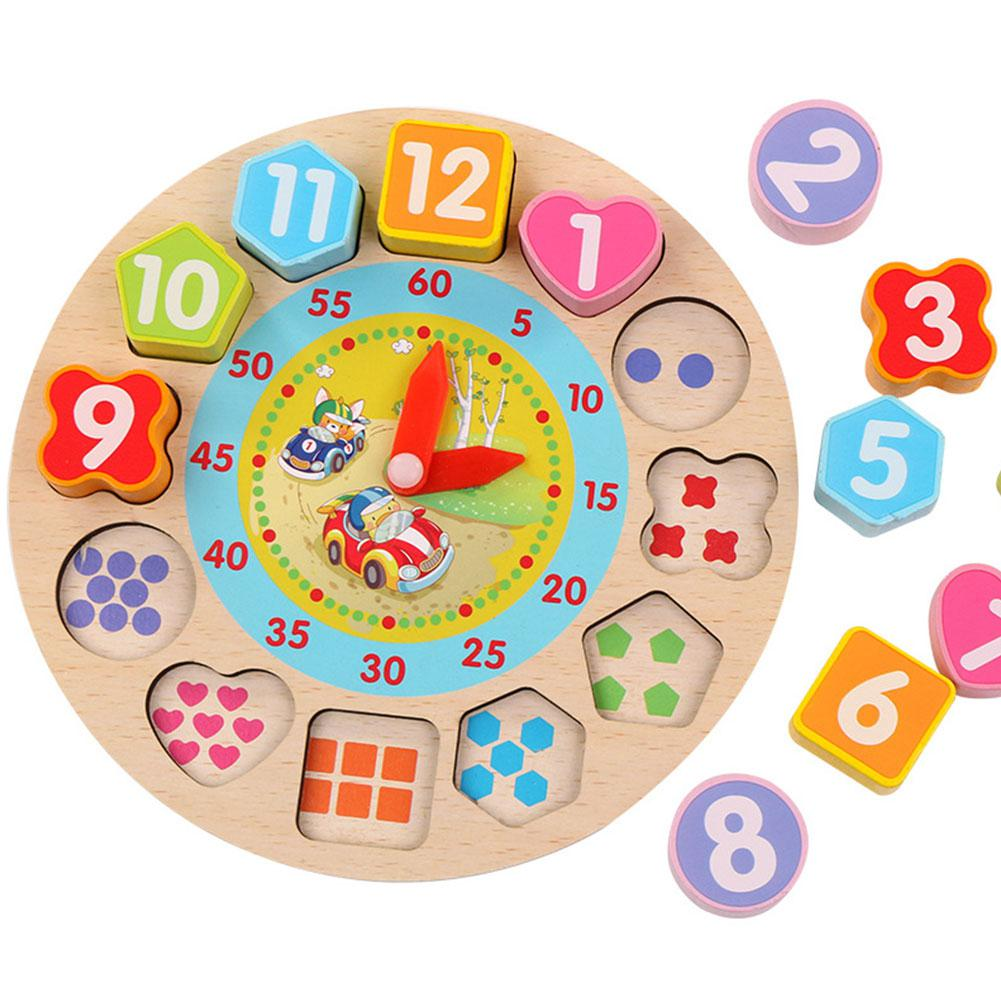 LeadingStar Wooden Puzzle Clock Toy Cognitive Digital ...