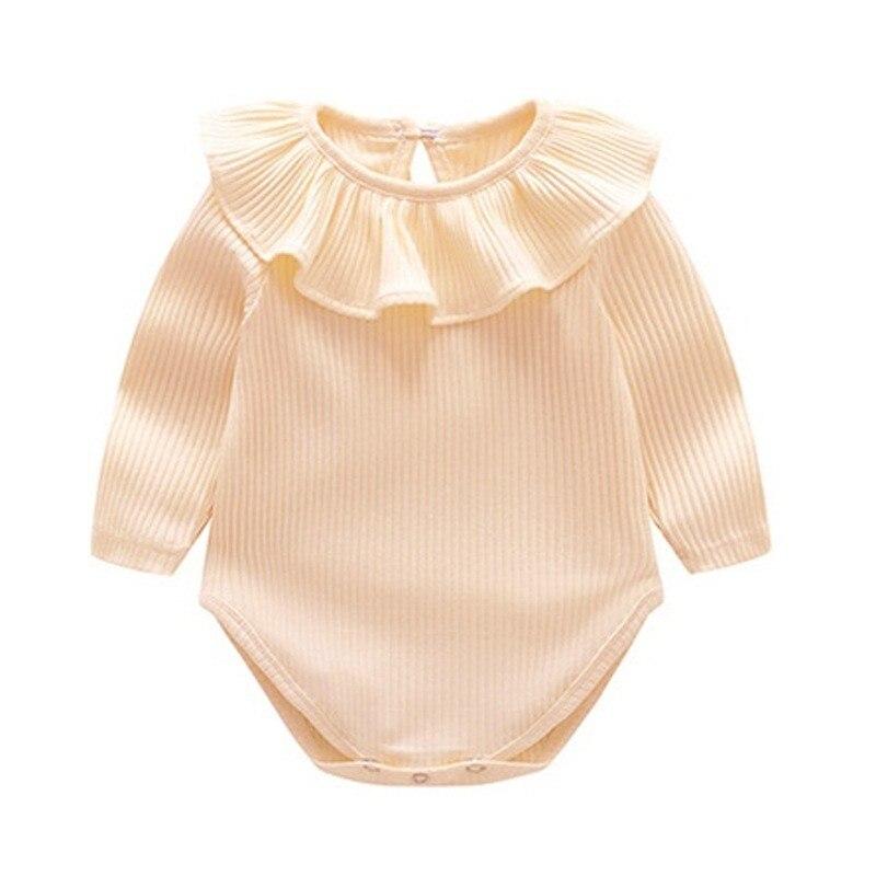 Bebê menina de malha bodysuits recém-nascidos roupas 2019 primavera outono manga longa plissado recém nascido menina onesie infantil menina corpo terno
