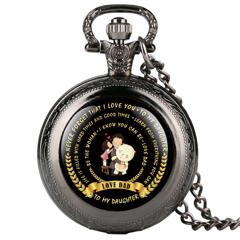 Dropshipping Reloj Mujer TO MY DAUGHTER Love Dad Theme Series Pocket Watch Arabic Digital Gift For Pocket Watch With Necklace