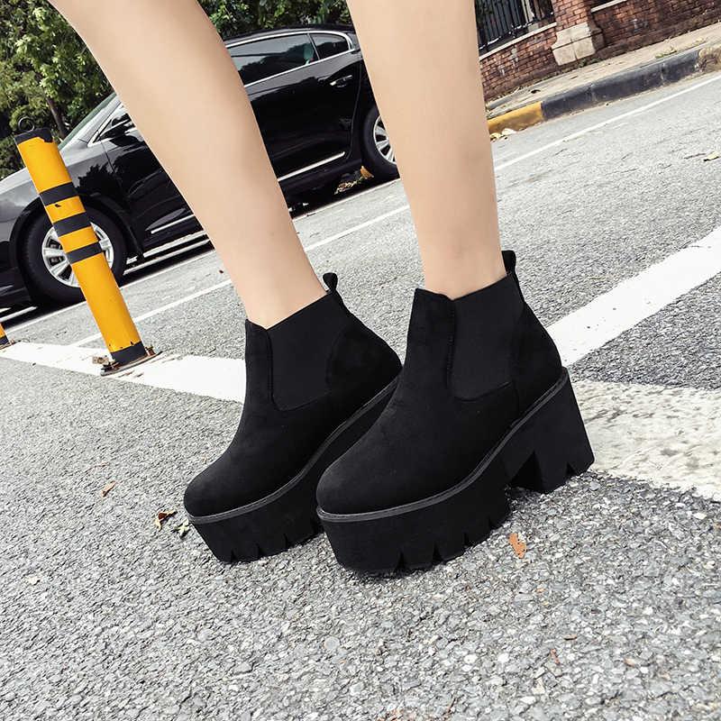 Serseri çizmeler şişeler femmes platformu çizme güz ayakkabı kadın yarım çizmeler kış yüksek topuk ayakkabı motosiklet botları kadın moda YMA531
