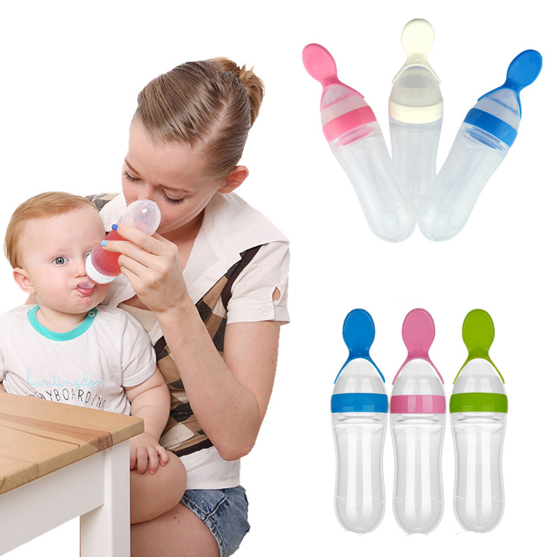 90ML Baby Feeding Bottle With Tongue Pressing Type Lip Mouth Spoon Infant Training Milk Rice Paste Squeeze Feeder Tableware