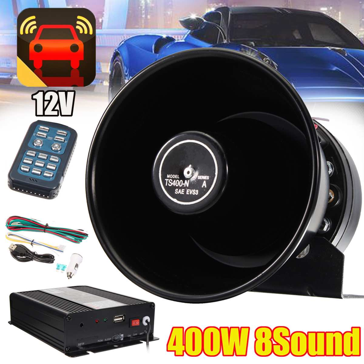400W 12V Durable 7 Sound Tones Loud Horn Car Truck Vehicle Speaker Warning Alarm Siren Horn Polices Ambulance Loudspeaker