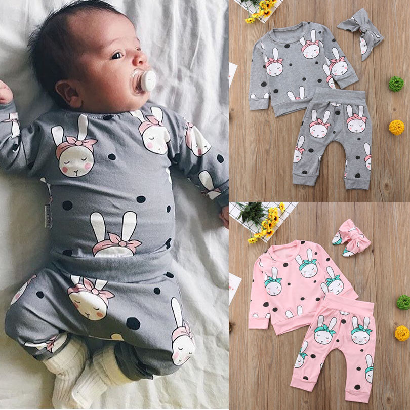 Pudcoco Girl Set 0-24M UK Newborn Baby Girl Rabbit Top T-shirt +Pants+Headband Clothes 3Pcs Outfits Set