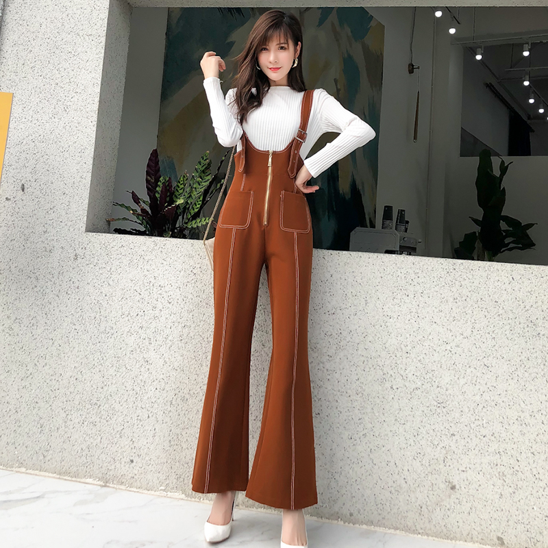 Pengpious winter new flare pants with zipper pockets and knit sweater long sleeves two pieces set fashion women 2