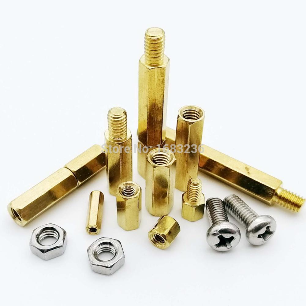50pcs M3 3mm Male-Female M3x5-30mm+6mm Brass Standoff Spacer with Nuts hexagonal