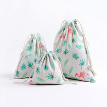 Original Literary Cotton Linen Drawstring Bag Multi-style Cartoon Cat Home Storage Christmas Candy Gift Packaging Bag Coin Purse