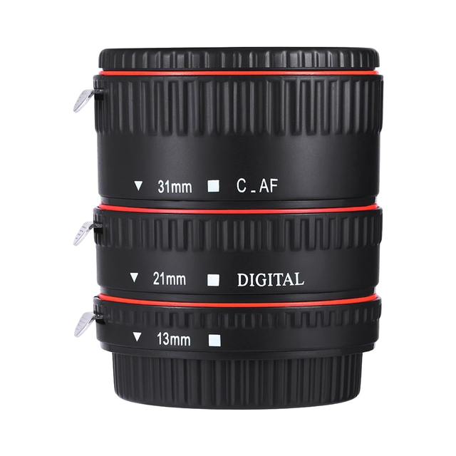 Canon EOS EF EF S 60D 7D 5D II 550D 빨간색 확장 튜브 용 Andoer 다채로운 금속 TTL 자동 초점 AF 매크로 확장 튜브 링