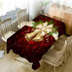 Drop Shipping Christmas Tablecloth Polyester Dustproof Waterproof Table Cover New Year Dinner 3D Tablecloth Home Party Decor