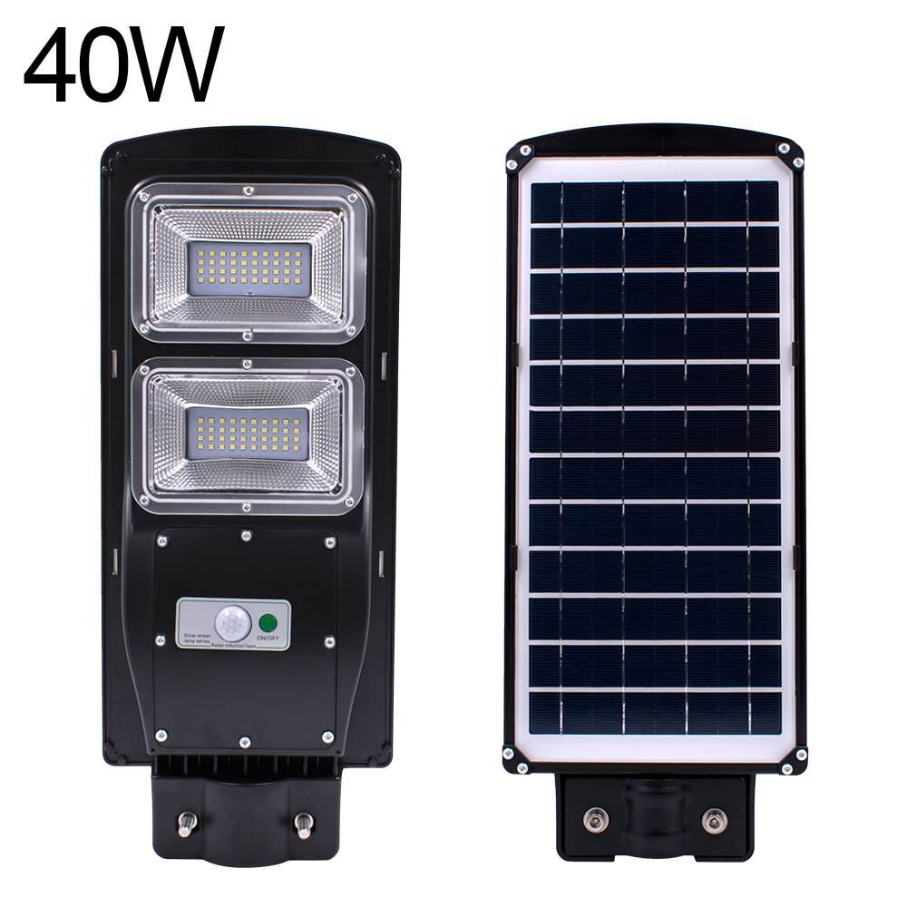 Impermeable al aire libre de la pared de la calle luz 40 W Solar Powered movimiento con Radar + de luz/luz de Control remoto para el jardín de la calle lámpara de inundación