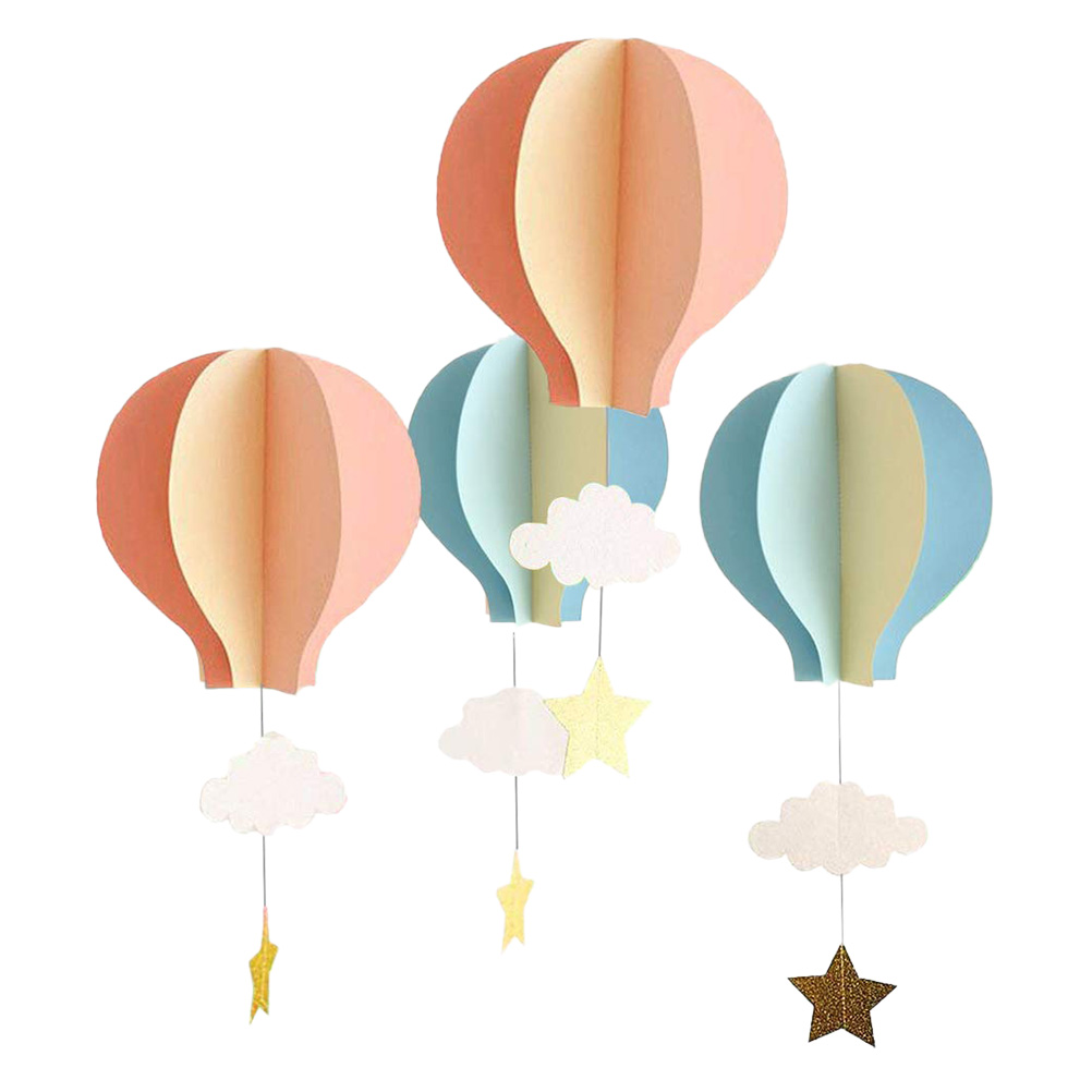 4pcs 3D Paper Ornaments Paper Hot Air Balloon Cloud Hanging Decorative Decor Pendant for Baby Shower Birthday Party Wedding