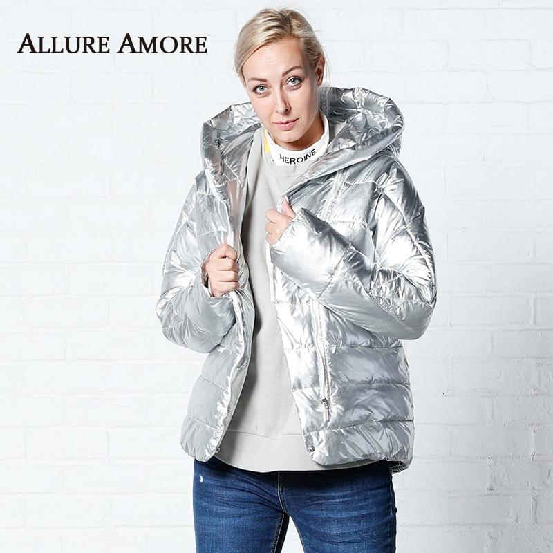 Parka femme veste d'hiver à capuche femme vestes d'hiver hiver femme manteau chauve-souris ample manteaux d'hiver argent AllureAmore 2019