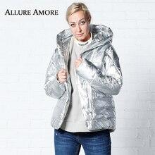 Womens Parka Female Winter Jacket hooded Women Jackets Woman Loose Bat Coat Coats Silver AllureAmore 2019
