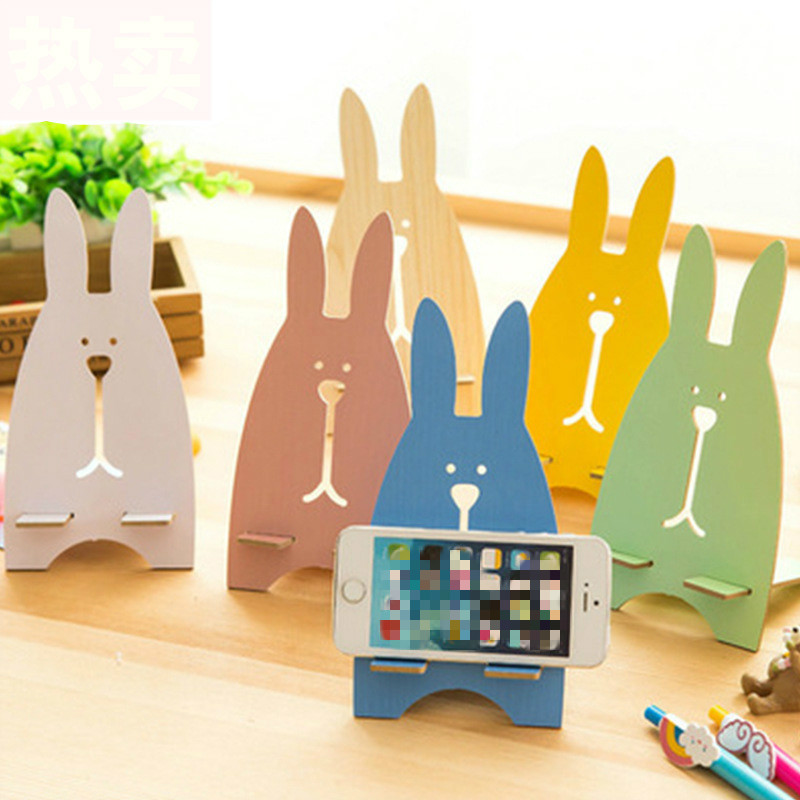 Creative Rabbit Decorative Floating Shelf Universal Phone Holder Stand Base Children's Room Table Decoration Store Home Decor
