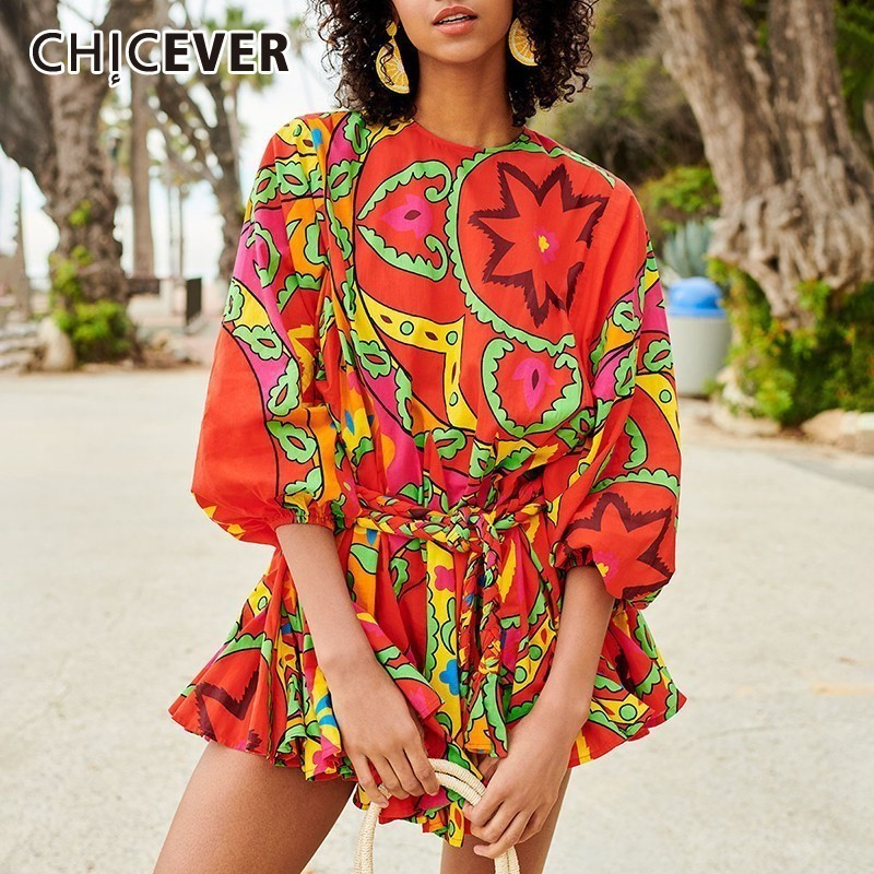 CHICEVER Summer Vintage Print Dress Female O Neck Long Sleeve Bandage High Waist Pleated Slim Dresses