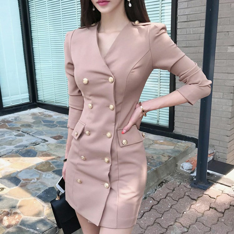 New Autumn Women Empire Sheath Blazer Dress Sexy V Neck Double-Breasted Long Sleeve Pencil Dress Solid Bodcyon Work Dresses