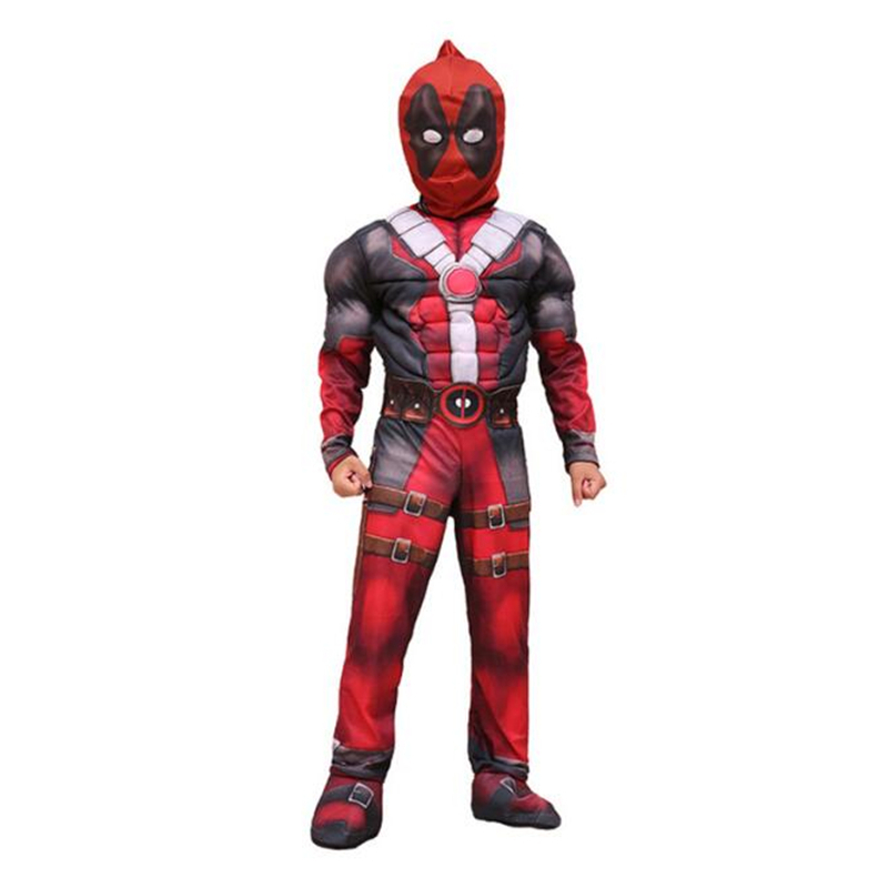 Deluxe Boys Deadpool Muscle Costume Cosplay Marvel Superhero Movie Halloween Carnival Purim Festival Kids Party Cosplay Clothing